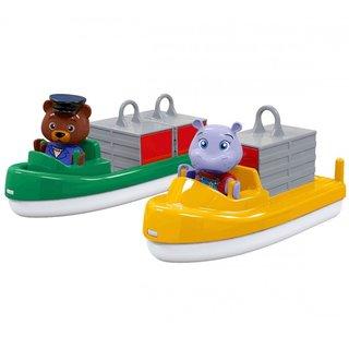 AQUAPLAY 255 Zubehör: Transportboote mit Container und Spielfiguren